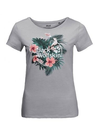 Jack Wolfskin Tropical Tee Kadın T-Shirt - 1806611-6111 Gri